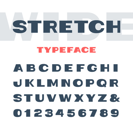 stretch: Wide font. Vector alphabet with stretch effect letters and numbers.