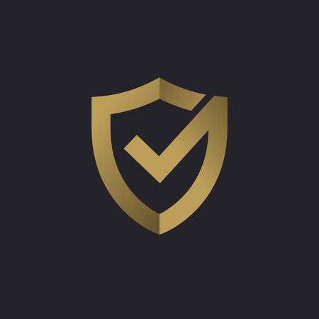 Shield check mark logo icon design template elements Ilustrace