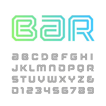 techno: Linear font. Vector alphabet with stripes effect letters and numbers.