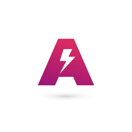 Letter A lightning logo icon design template elements