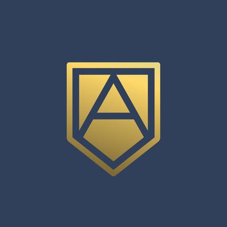 Carta de un logotipo escudo icono de elementos de plantilla de diseño