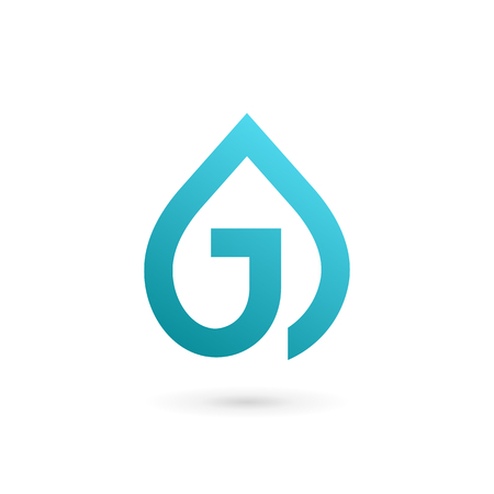 distilled: Letter J water drop logo icon design template elements Illustration