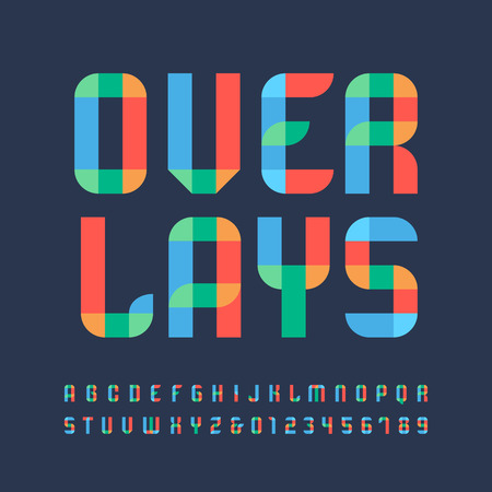 overlay: Color font. Vector alphabet with overlay effect letters and numbers.
