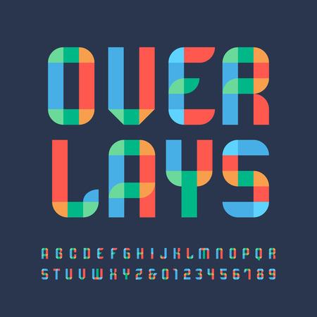 nakładki: Kolor czcionki. Wektor alfabet z literami i cyframi nakładki efekt.