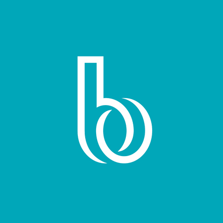 vector art: Letter B logo icon design template elements on blue background.