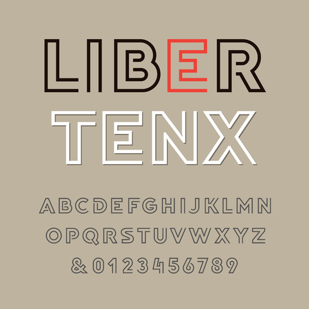 Linear font. Vector alphabet with latin letters and numbers.