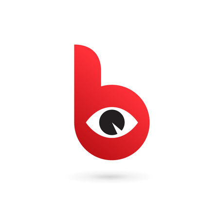 red eye: Letter red B eye logo icon design template elements.