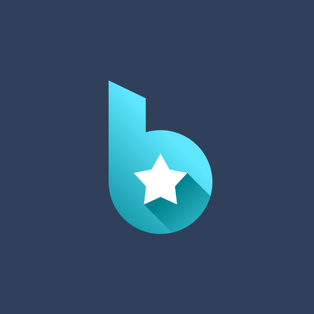 star icon: Letter blue B star logo icon design template elements.