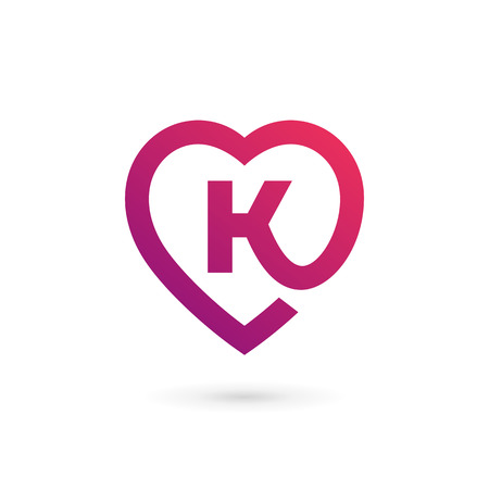 Letter K heart logo icon design template elements