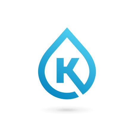 distilled: Letter K water drop logo icon design template elements