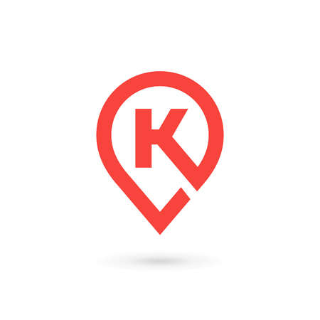 Letter K geotag logo icon design template elements