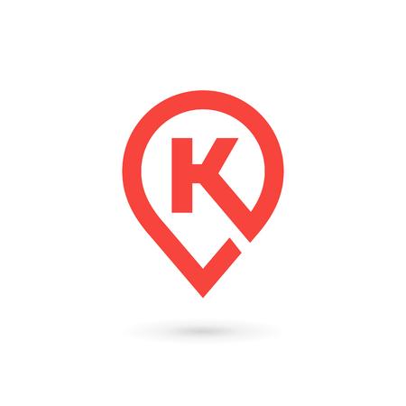 Letter K geotag logo icon design template elements Illustration