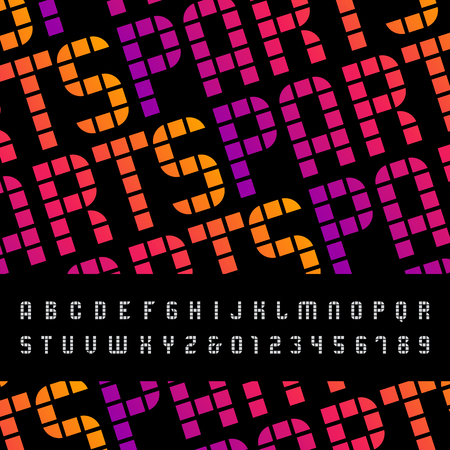 Mosaic font alphabet with Latin letters and numbers.