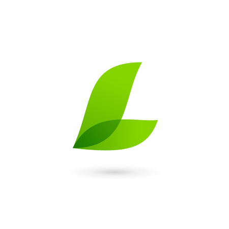 Letter L eco leaves logo icon design template elements Ilustração