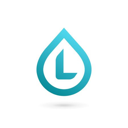 Letter L water drop logo icon design template elements
