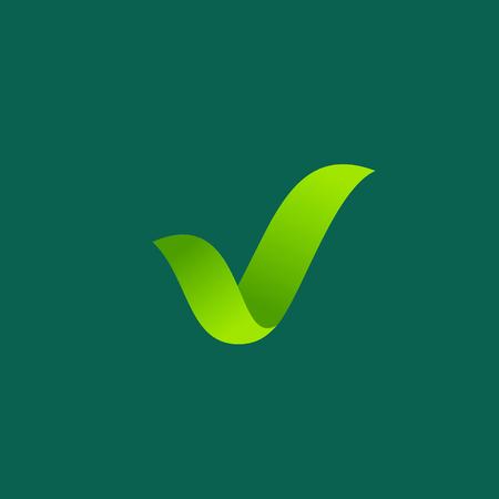 에코 잎 체크 마크 로고 아이콘 디자인 템플릿 요소