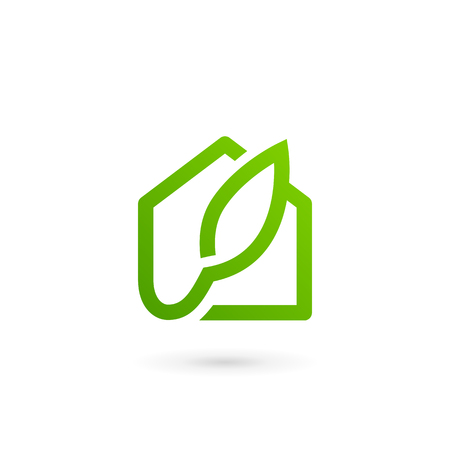 Eco leaves house icon design template elements.