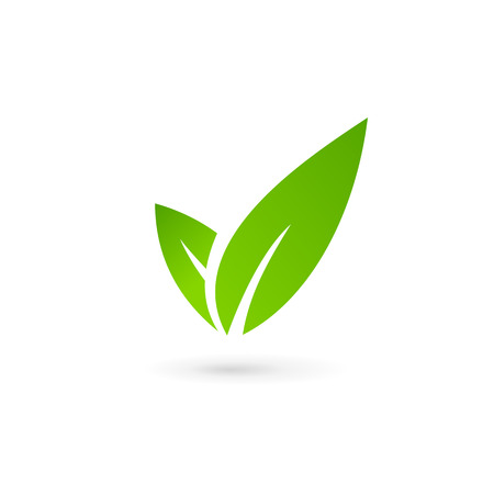 Eco leaves check mark logo icon design template elements