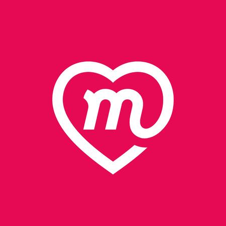 Herz-Logo-Symbol-Designschablonenelemente des Buchstaben M Standard-Bild - 87209936
