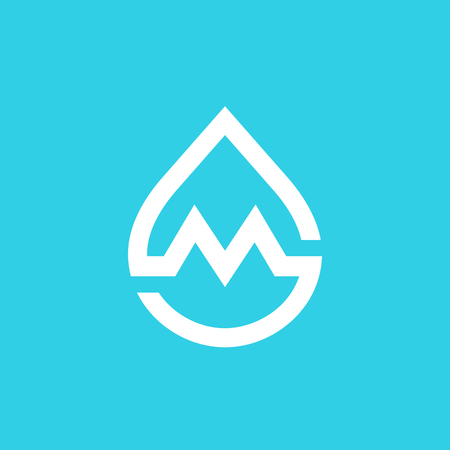 Letter M water drop icon design template elements