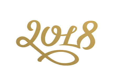 Happy new year 2018 lettering greeting card design Illustration