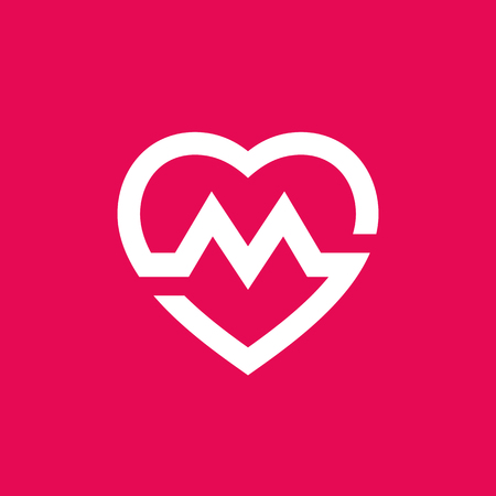 Letter M heart icon.