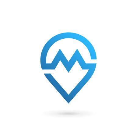 Letter M geotag icon. Ilustracja