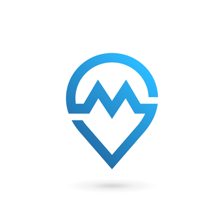 Letter M geotag icon. Illustration