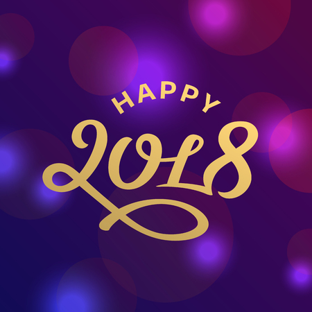Happy new year 2017 lettering greeting card design Illustration