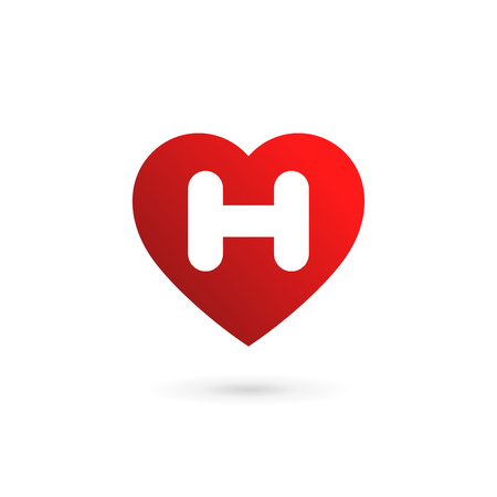 Letter H heart logo icon design template elements