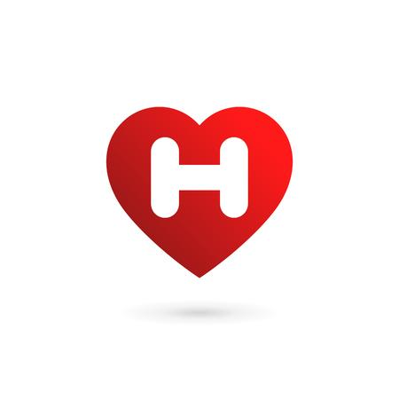 Letter H heart logo icon design template elements