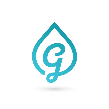 Letter G water drop icon design template elements. Illustration