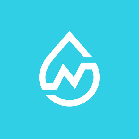Letter N water drop icon design template elements.