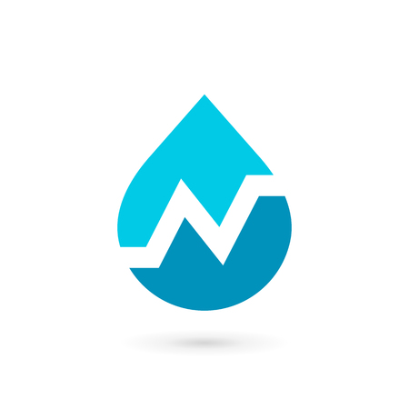 Letter N water drop logo icon design template elements Çizim
