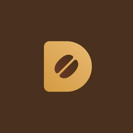 Letter D coffee logo icon design template elements Vector illustration. Çizim