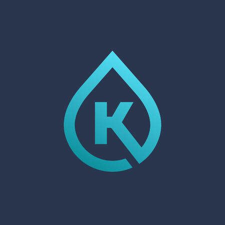 Letter K water drop logo icon design template elements