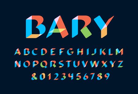 Transparent font. Vector alphabet with overlay effect letters and numbers. Illustration