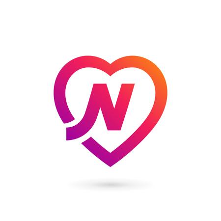 Éléments du modèle de conception lettre N coeur logo icône