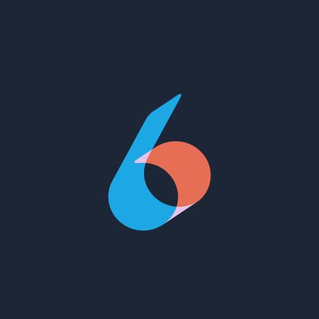 Number 6  logo icon design template elements Ilustração