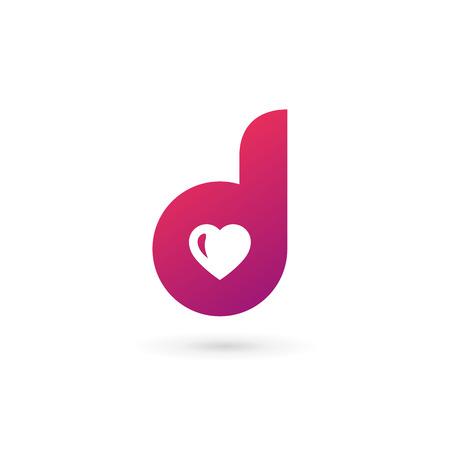 Letter D hart logo pictogram sjabloon ontwerpelementen