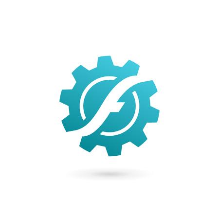 Design-Vorlagenelemente des Buchstaben F-Technologie-Logo-Symbols