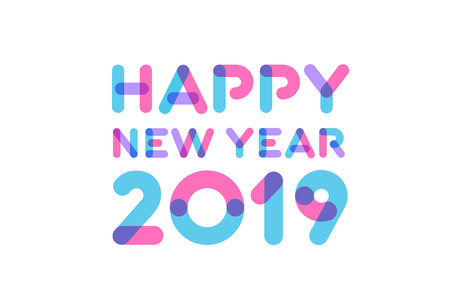Happy new year 2019 greeting card design Illustration