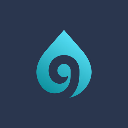 Letter G number 9 water drop logo icon design template elements Ilustração