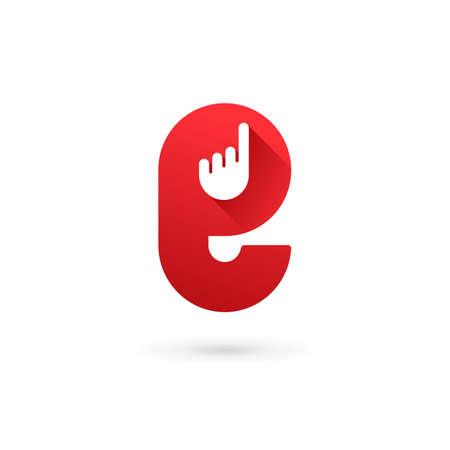 Letter E hand logo icon design template elements Illustration