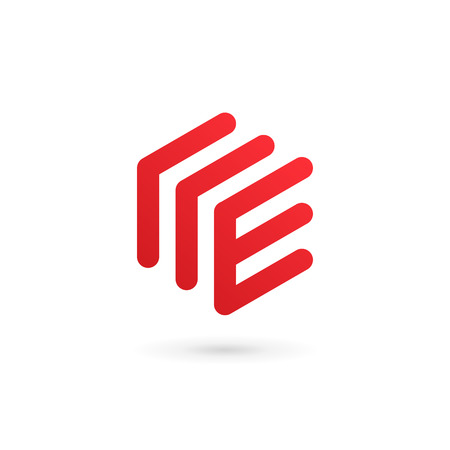 Elementos de plantilla de diseño de icono de logotipo letra E Logos