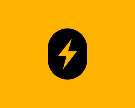 Letter O number 0 lightning logo icon design template elements