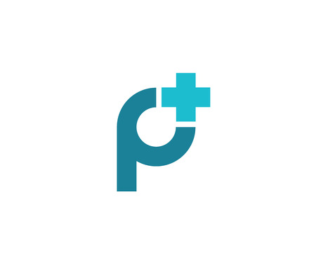 Letter P cross plus medical logo icon design template elements Çizim