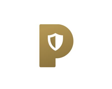 Letter P shield logo icon design template elements 矢量图像