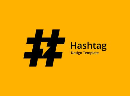 Hashtag symbol lightning logo icon design template elements