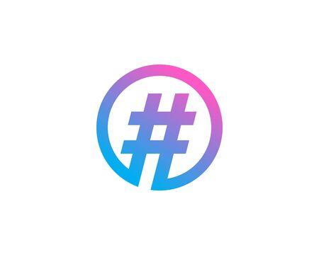 Éléments de modèle de conception d'icône de logo de symbole de hashtag
